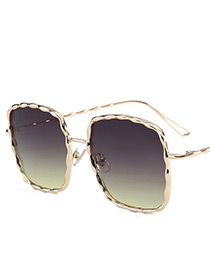 Fashion Champagne Square Shape Decorated Sunglasses