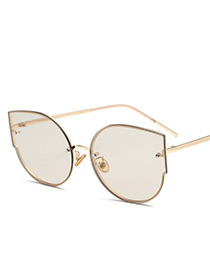 Fashion Champagne Pure Color Decorated Sunglasses