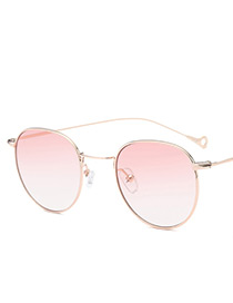 Vintage Pink Color-matching Decorated Round Shape Sunglasses