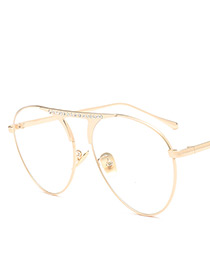 Fashion Gold Color Diamond Decorated Sunglasses