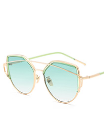 Vintage Green Pure Color Decorated Sunglasses