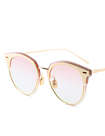 Vintage Pink Color-matching Decorated Swing Shape Sunglasses
