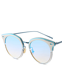 Vintage Silver Color+blue Color-matching Decorated Swing Shape Sunglasses