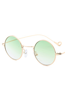 Vintage Green Round Shape Decorated Sunglasses