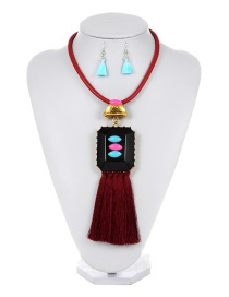 Exaggearte Claret-red Square Shape Decorated Tassel Jewelry Sets