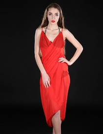 Fashion Red Pure Color Decorated Dreess