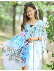 Fashion Light Blue Flower Pattern Decorated Scarf