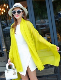Fashion Yellow Pure Color Decorated Scarf