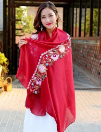Fashion Red Embroidery Flower Decorated Scarf