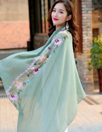 Fashion Green Embroidery Flower Decorated Scarf