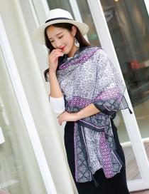 Fashion Black+white+purple Flower Pattern Decorated Scarf