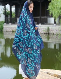 Fashion Green+dark Blue Flower Pattern Decorated Scarf