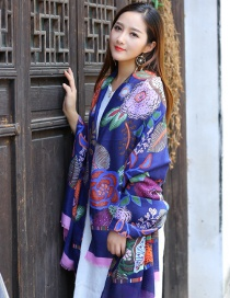 Fashion Multi-color Flower Pattern Decorated Scarf
