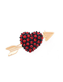 Fashion Red+gold Color Heart Shape Decorated Brooch