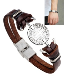 Fashion Brown Cross Pattern Decorated Bracelet