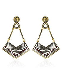 Fashion Gold Color Geometric Decorated Earrings