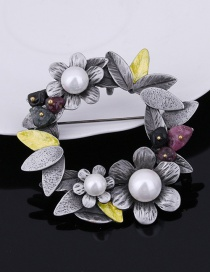 Fashion Silver Color Flower Shape Decorated Brooch