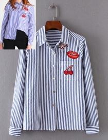Fashion Blue+white Stripe Pattern Decorated Shirt