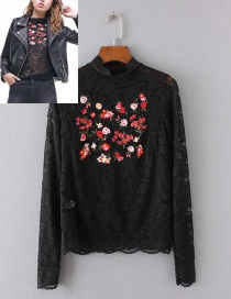 Fashion Black Embroidery Flower Decorated Shirt
