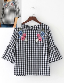 Fashion Black+white Grid Pattern Decorated Shirt