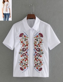 Fashion White Flower Pattern Decorated Shirt