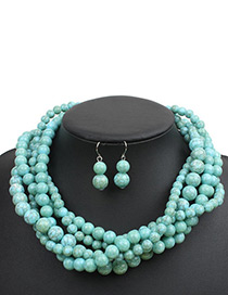 Bohemia Green Beads Decorated Hand-woven Jewelry Sets