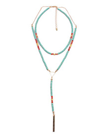 Bohemia Blue Beads Decorated Doouble Layer Long Necklace