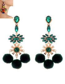 Fashion Green Pompom Ball Decorated Earrings