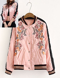 Fashion Pink Embroidery Flower Decorated Long Sleeves Coat
