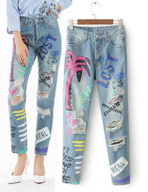 Fashion Blue Cartoon Pattern Decorated Holes Jeans