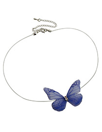 Fashion Sapphire Blue Butterfly Decorated Simple Choker