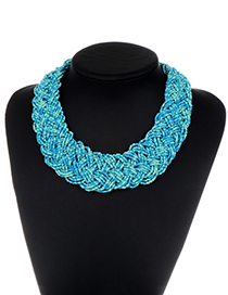 Fashion Lake Blue Pure Color Decorated Necklace