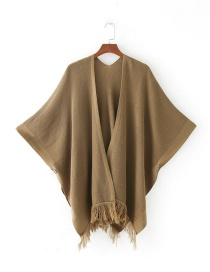Fashion Khaki Tassel Decorated Pure Color Cloak Shawl