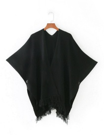 Fashion Black Tassel Decorated Pure Color Cloak Shawl