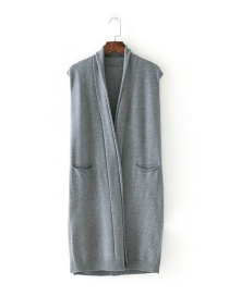 Fashion Gray Pure Color Decorated Leisure Vest