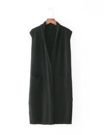 Fashion Black Pure Color Decorated Leisure Vest