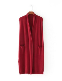 Fashion Claret Red Pure Color Decorated Leisure Vest