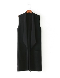Fashion Black Pure Color Decorated Long Leisure Vest