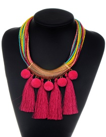 Fashion Plum Red Tassel&fuzzy Ball Decorated Necklace