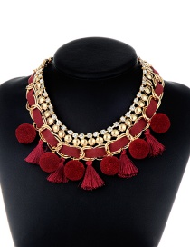 Fashion Claret Red Tassel&fuzzy Ball Decorated Necklace
