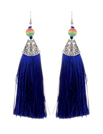 Fashion Sapphire Blue Ball&tassel Decorated Long Earrings