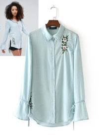 Fashion Light Blue Embroidery Flower Decorated Long Sleeves Shirt