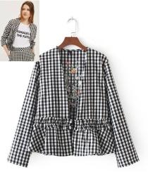 Fashion Black+white Grid Pattern Decorated Long Sleeves Coat