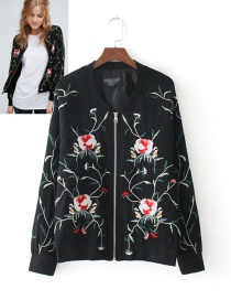 Fashion Black Grid Pattern Decorated Long Sleeves Jacket