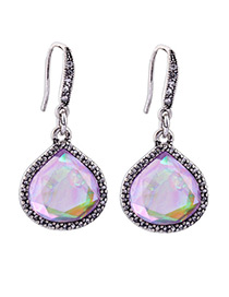 Elegant Multi-color Water Drop Shape Gemstone Decorated Earrings