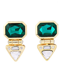 Elegant Green Square Shape Gemstone Decorated Earrings