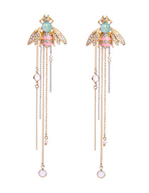 Elegant Gold Color Bee Shape Decorated Tassel Design Earrings