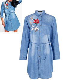 Fashion Blue Flower Decorated Long Sleeves Dress