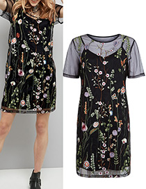 Fashion Black Flower Decorated Short Sleeves Dress