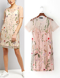 Fashion Pink Flower Decorated Short Sleeves Dress